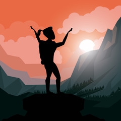 colorful sunset landscape of climber woman celebrating at the top of mountain vector illustration