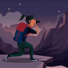 colorful night landscape of hiking woman taking a picture in outdoors vector illustration