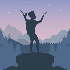 color night landscape silhouette of climber woman celebrating at the top of mountain vector illustration