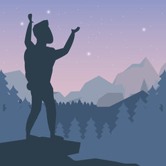 color night landscape silhouette of climber man celebrating at the top of mountain vector illustration