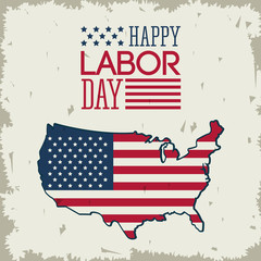 colorful poster of happy labor day with american flag in shape of the united states map vector illustration