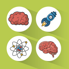green background with colorful spheres with icons of brain and atom and rocket vector illustration