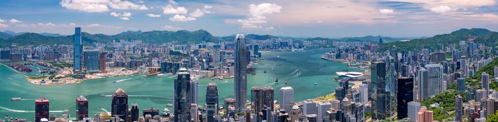 Foto op Plexiglas Hong-Kong 香港・ビクトリアピークからの景色 日中