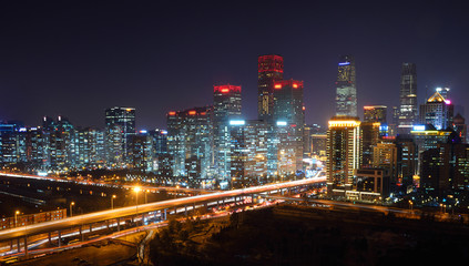 High angle view of Beijing CBD Skyline at night