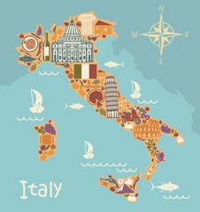 Map of Italy with traditional Italian symbols