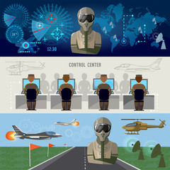 Modern military center radar screen with planes. Army air force banner, planes and helicopters military pilot air doctrines