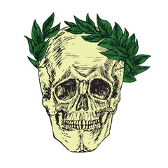 Skull in laurel crown, hand drawn doodle, sketch in woodcut style, vector illustration