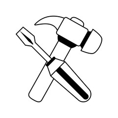 screwdriver and hammer tools icon image vector illustration design