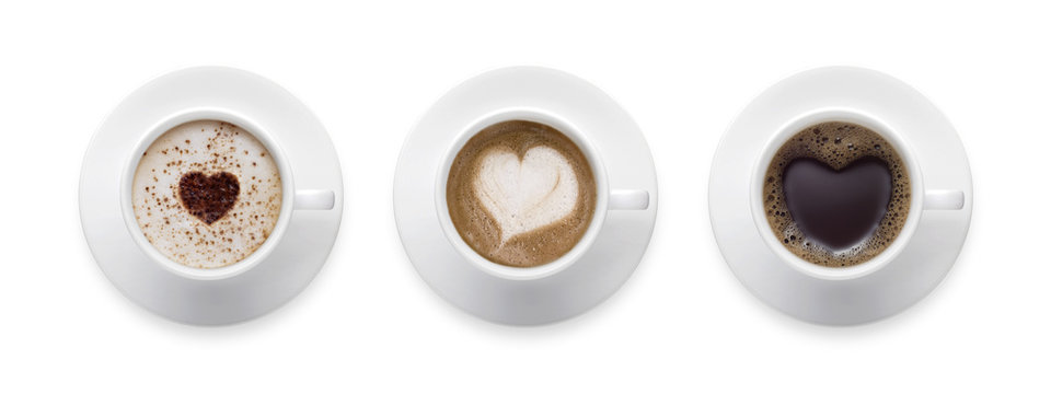 Heart shape, love symbol on black hot coffee cup, lover sign on Coffee cup of LATTE, Cappuccino, Mocha 3 styles for coffee lover isolate on white background with clip path.