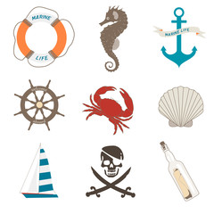Vector set of sea elements