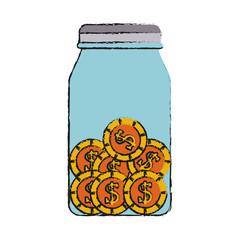 coins in jar money icon image vector illustration design