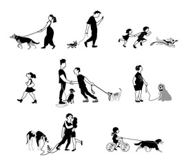 Vector illustration of People going walk with dogs. Characters set in flat design.