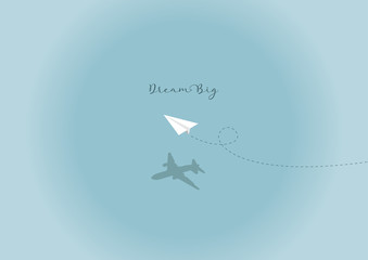 Vector Paper Plane Dream Big Simple Abstract Background