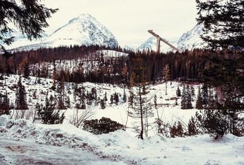 Solisko peak with springboard for ski jumping, Slovakia, retro filter