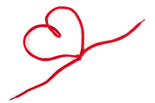 Heart of a red  shoelace