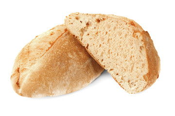Tasty loaf of bread on white background