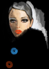 Beautiful woman in coat. Fashion illustration.