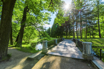 The bridge over the canal in the park of Tsarskoe Selo near St.Petersburg