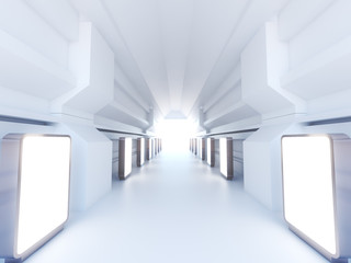 Futuristic with blank white standing spacious interior