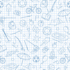 Seamless pattern on the theme of summer camp and vacations, simple contour icons, blue  contour  icons on the clean writing-book sheet in a cage