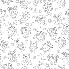 Seamless pattern with contour images cartoon dogs , dark outline on a white background