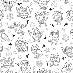 Seamless pattern with contour images of cartoon owls , dark outline on a white background