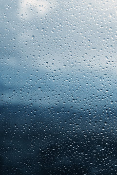 Raindrops on glass, background