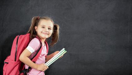 Back To School Concept, Happy Smiling Schoolgirl Studying