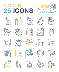 Set Vector Flat Line Icons Heart Defect