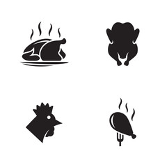 Chicken, fried chicken icons set