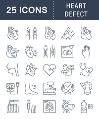 Set Vector Flat Line Icons Heart Defect
