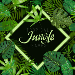 Pattern with tropical leaves on black background