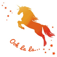 Beautiful watercolor unicorn in Fiery orange tones colors. Text ooh la la.. Beautiful Vector illustration.
