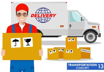 Transportation concept. Detailed illustration of delivery truck and driver, deliveryman hold the box on white background in flat style. Vector illustration.