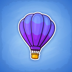 Vector illustration. Hot air balloon on sky background. Summer journey by air transport. Sticker in cartoon style with contour. Isolated on blue background