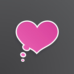 Vector illustration. Pink comic speech bubble for thoughts at heart shape with white contour. Empty shape in flat style for chat dialogs. Isolated on black background