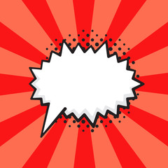 Vector illustration. Comic speech bubble of scream prickly shape in pop art style. Empty element with contour for your dialogs. Isolated on red background with rays
