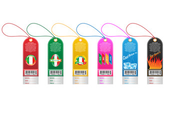 Price tag label with country barcode collection. Made in Italy. Vector EPS10