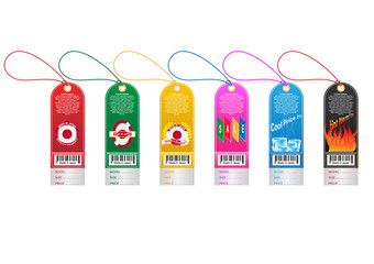 Price tag label with country barcode collection. Made in Japan. Vector EPS10