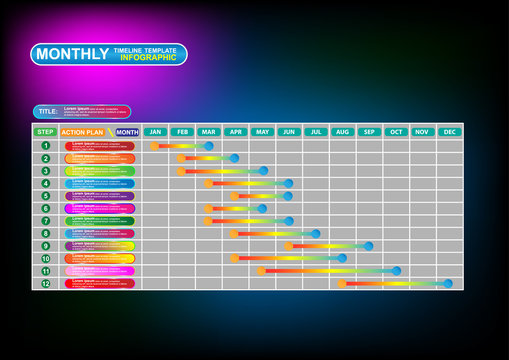 Business monthly timeline infographic template. Vector EPS10