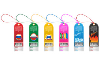 Price tag label with country barcode collection. Made in Russia. Vector EPS10