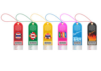 Price tag label with country barcode collection. Made in Thailand. Vector EPS10