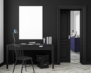 Classic black workplace interior mock up with table, chair, door, white parquet floor. 3D render illustration.