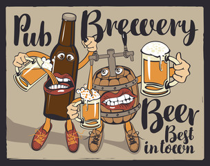 Vector banner with inscriptions pub, brewery, beer, best in the town. Illustration in a flat style with a cheerful beer bottle and barrel, which hold the glasses with beer