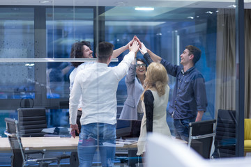 startup Group of young business people celebrating success