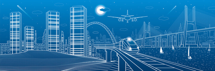 Infrastructure and transport panorama. Train move on railway. Airplane fly. Big cable-stayed bridge. Modern night city, towers and skyscrapers. Yachts on the water. White lines. Vector design art