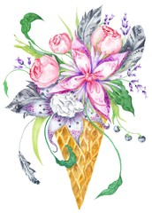 Watercolor Illustration with Flowers in Waffle Cup