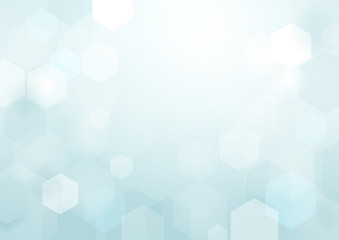 Wall Mural - Abstract bokeh hexagonal shape on blue and white background