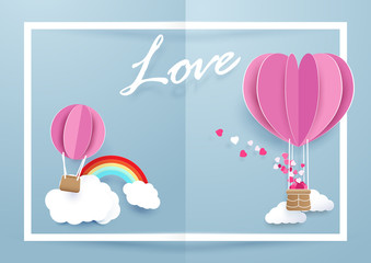 Heart shape balloons flying over clouds and rainbow in white frame background. Valentines day and love concept