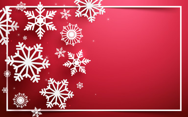 Merry Christmas and Happy new year. Abstract snowflakes with white frame on red background